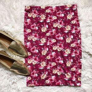FOREVER21 dark pink floral knee length skirt